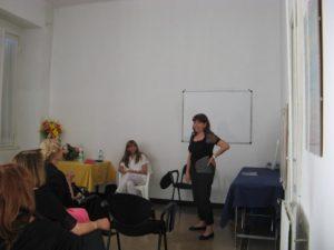 Un momento della conferenza: le Dott. Miriam e Daniela Dodero